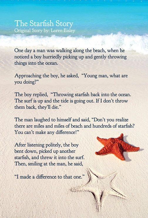 a97838b531e7238fe534a33672fed898--starfish-story-making-a-difference